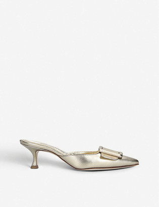 Manolo Blahnik Maysale metallic leather mules
