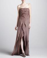 J. Mendel Wrap-Skirt Strapless Gown