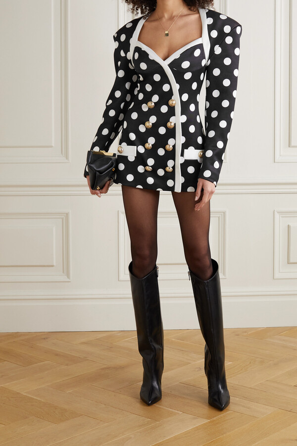 Thumbnail for your product : Balmain Button-embellished Polka-dot Satin Mini Dress - Black