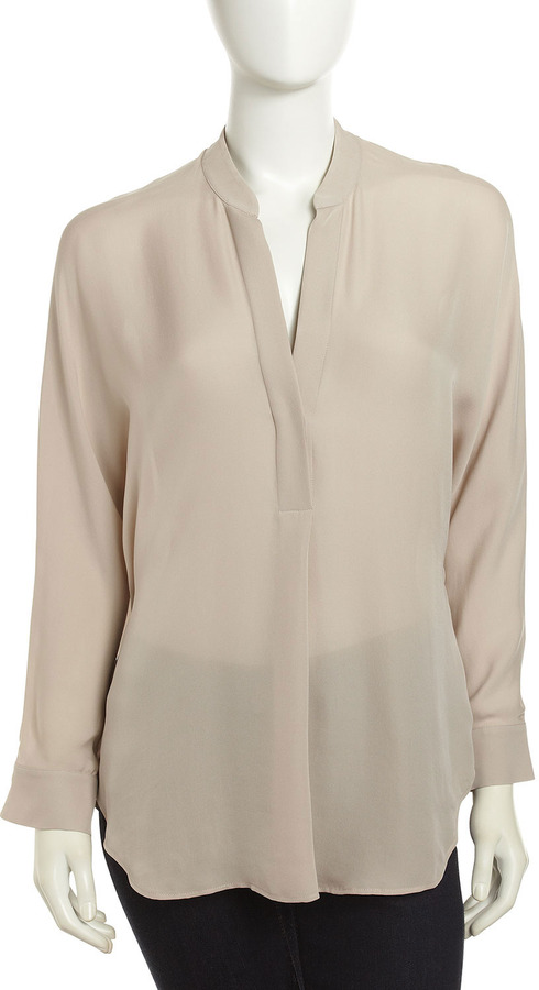 Vince Silk Placket Tunic, Sesame