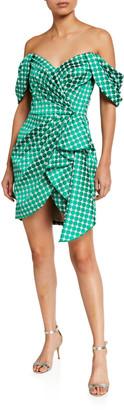 Tadashi Shoji Dot Off-the-Shoulder Asymmetric High-Low Wrap Dress