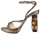 Fendi Metallic Leather Embossed Sandals