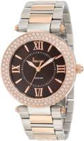 Freelook Women's HA1536RGM-2 Silverrose Gold Plated Brown Face s Crystal Bezel Watch