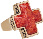 Barse Red Sponge Coral & Bronze Cross Ring