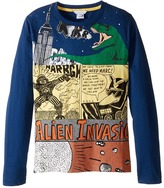 Little Marc Jacobs Long Sleeve Alien Invasion Illustration Tee Shirt Boy's T Shirt