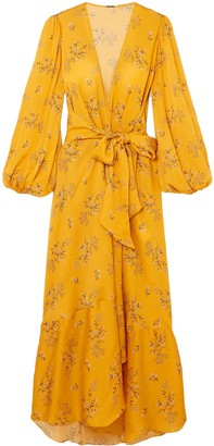 Johanna Ortiz Exotic Pitaya Floral-print Silk-satin Wrap Dress