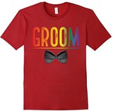 Men's Bachelor Party Shirt Groom Rainbow Gay Pride Bow Tie Large