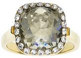 White & Gold Princess-Cut Ring With Swarovski® Crystals