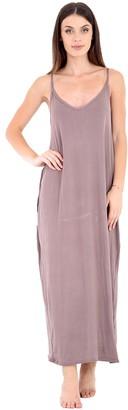 Mustwearit Womens V Neck Cami Legenlook Romper Long Maxi Dress