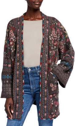 Johnny Was Aya Embroidered Knit Kimono