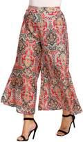 Meaneor Plus Size Boho Printed High Waist Wide Leg Palazzo Pants for Women