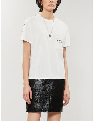 The Kooples Sport Eyelet-applique cotton-jersey T-shirt
