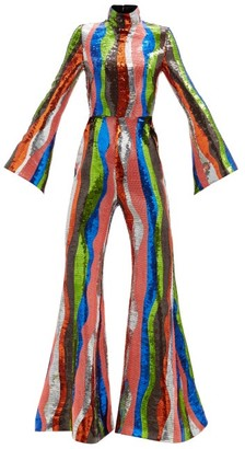 Halpern Wave-stripe Sequinned Jumpsuit - Multi