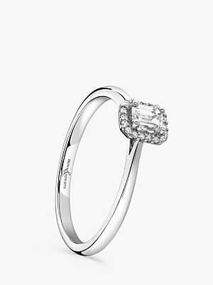 Brown & Newirth Platinum Emerald Cut Diamond Engagement Ring, 0.28ct