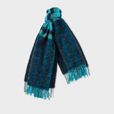 Paul Smith Women's Navy Fluffy Gingham Wool-Blend Scarf