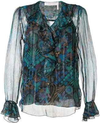 See by Chloe Ruffled Neck Printed Blouse