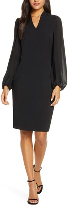Vince Camuto Crepe & Chiffon Long Sleeve Dress