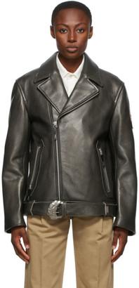 Ader Error Black Leather Oversized Norman Jacket