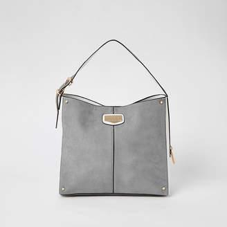 River Island Grey suedette padlock side slouch bag