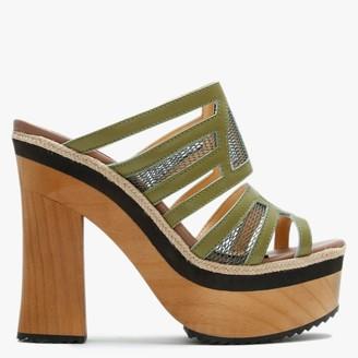 Carmen Saiz Green Leather & Mesh Platform Mules