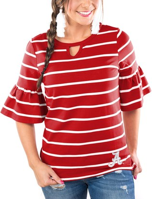 Unbranded Women's Crimson Alabama Crimson Tide Go with the Flow Striped Keyhole T-Shirt