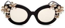 Alice + Olivia Olivia Black Mirrored Crystal Sunglasses