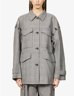 Frenken Wing tartan check-print woven jacket
