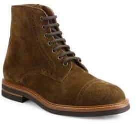 Brunello Cucinelli Brogue Cap Toe Suede Boots