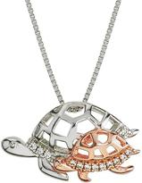 Two-Tone Mom and Baby Turtle Pendant with Diamond Accents by Ax Jewelry