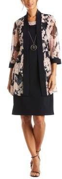 R & M Richards Petite Dress & Mesh Floral Jacket