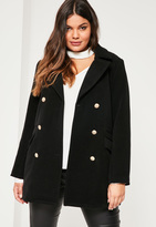 Missguided Plus Size Black Short Faux Wool Military Coat