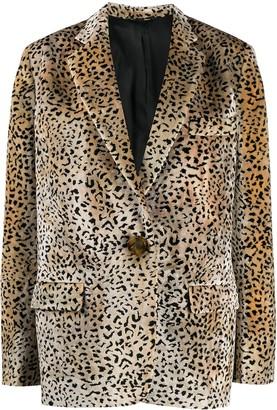 ATTICO Leopard Print Woven Blazer