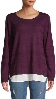 Calvin Klein Layered Crewneck Knit Sweater