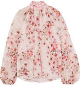 Giambattista Valli Guipure Lace-trimmed Floral-print Silk-georgette Blouse - Pink