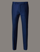 Autograph Blue Slim Fit Wool Trousers