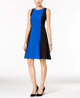 Kasper Stretch-Crepe Colorblocked A-Line Dress