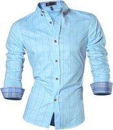 jeansian Men's Long Sleeves Plaid Slim Fit Button Down Dress Shirt 84N1 XL