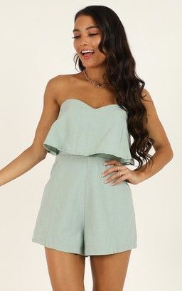 Showpo New energy playsuit in sage linen look - 6 (XS) Casual