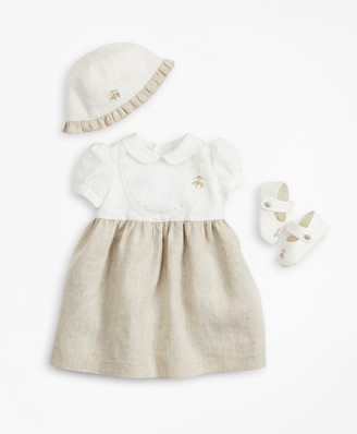 Brooks Brothers Girls Linen Dress, Hat & Mary Janes Set - 12 Months