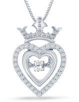 FINE JEWELRY Enchanted by Disney 1/5 C.T. T.W. Silver Heart Disney Princess Crown Pendant Necklace