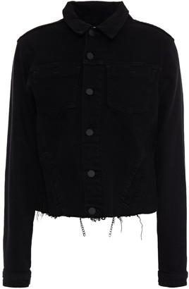 L'Agence Janelle Chain-embellished Frayed Denim Jacket