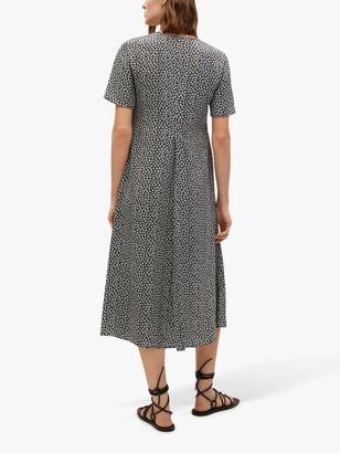 MANGO Ditsy Floral Print Empire Waist Midi Dress, Black/Multi
