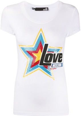 Love Moschino star-embellished crew neck T-shirt