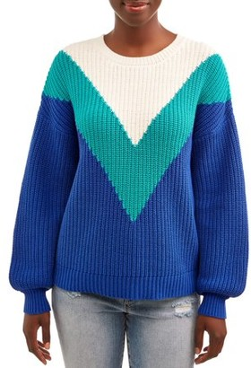 Time and Tru Women's Chevron Shaker Pullover