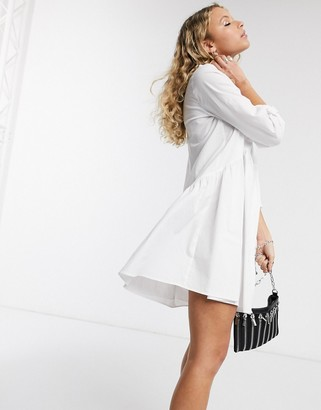 Only poplin shirt dress in white