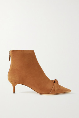 Alexandre Birman Clarita Bow-embellished Suede Ankle Boots - Tan