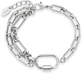 Thumbnail for your product : Sterling Forever Rhodium Plated Chain Link Carabiner Bracelet