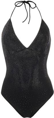 Ermanno Scervino stud-embellished V-neck swimsuit
