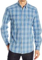 Lucky Brand Blue Mens Small S Western Button Down Dobby Plaid Shirt