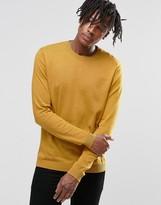Asos Crew Neck Jumper In Yellow Cotton
